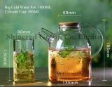 1.8L de korte Fles van het Hete Water van de Mond, de Ketel van het Glas van Borosilicate van de Ketel van het Koude Water met Handvat