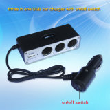 USB Port와 온/오프 Switch를 가진 12V/24V Car Power Splitter