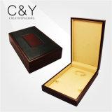 Caixa de jóia de madeira da laca preta interna preta