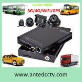 H. 264 HD 1080P 4 قناة موبايل DVR مع نظام تحديد المواقع تتبع واي فاي 3G 4G، لمركبات السيارات الحافلات الشاحنات عربات النظام زوارق المراقبة