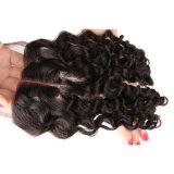 o meio livre profundo brasileiro do cabelo humano do fechamento 100% do cabelo do Virgin do fechamento do laço da onda da classe 7A uma alta qualidade de três porções livra o transporte