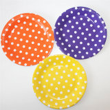 Eco-Friendly Red Yellow Green DOT Paper Plates для Party