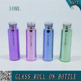botella de cristal Electroplated colorida de la bola de rodillo 10ml con el casquillo de aluminio