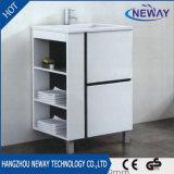 Einfacher Fußboden-stehender weißer Plastikbadezimmer-Schrank