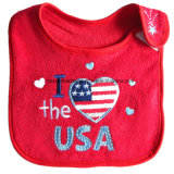 Le produit d'OEM a adapté le bavoir promotionnel de bébé de coton de festival de Noël brodé par logo