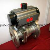 China fêz a conexão da flange do aço inoxidável Ss316 a válvula de esfera pneumática