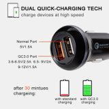 Быстро двойной заряжатель автомобиля мобильного телефона QC3.0 заряжателя автомобиля USB