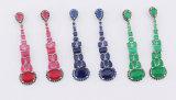El micr3ofono plateado rodio pavimenta los pendientes de caída cristalinos del Zirconia cúbico