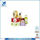Etiqueta autoadhesiva de empaquetado de la botella de agua del vinilo adhesivo de encargo