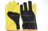 Handschoen van de Bestuurder van het Lassen van het Leer van 10.5 Duim de Gele Werkende met Ce