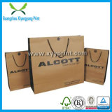カスタムサイズのロゴの平らなハンドルのクラフト紙袋のショッピング・バッグ