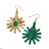 Os brincos de gota acrílicos da flor do verde simples do estilo para a Ouro-Cor das mulheres oscilam brincos