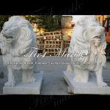 León blanco Ma-190 de Carrara de la estatua animal de piedra de mármol del granito