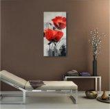 Fleur décorative rouge sur la peinture à l'huile