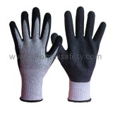Chineema ha lavorato a maglia i guanti resistenti del taglio con la palma nera del lattice della piega ricoperta