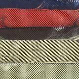 Tela híbrida aramida de carbono vermelho de 3k 200g