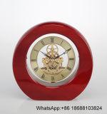 Horloge en bois de bureau de cadran de piano d'horloge en bois ronde romaine squelettique de mantel