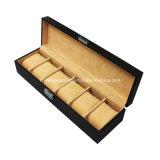 6 Slots Janela de vidro Luxo PU Leather Watch Gift Box de armazenamento