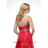 Femmes Sweatheart perlant la robe sexy de bal d'étudiants de soirée de satin