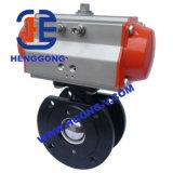 Válvula de esfera pneumática da bolacha do aço inoxidável de API/ANSI