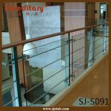 Balaustre de cristal de interior del acero inoxidable de la plata del satén (SJ-S091)