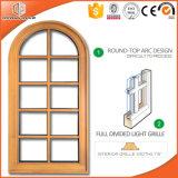 Окно Casement Кругл-Верхней части с польностью разделенным светлым окном твердой лиственницы стеклянного окна Grillen импортированным деревянным фикчированным