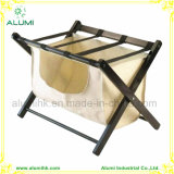 5 Estrellas Hotel Metal Gold Strips Estante de equipaje de madera