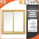 Ventana de desplazamiento de aluminio de la rotura termal de madera del color para la casa residencial, ventana de deslizamiento del vidrio Tempered de la doble vidriera