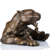 Wild Animal Small Size Hand-Made Leopard Bronze Skulptur Statue Tpal-064