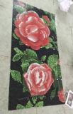 ローズの花模様のガラスモザイク模様の壁のタイル(HMP654)
