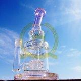 O quartzo arrebatado da tubulação de tabaco do ofício de vidro da tubulação do reciclador da corona de OEM/ODM prega da cor de vidro da tubulação de água do coletor da cinza dos Bangers a tubulação de água de fumo de vidro