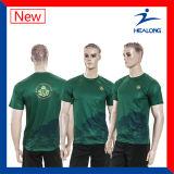 Maglietta asciutta di misura di polo di Healong della maglietta su ordinazione degli uomini