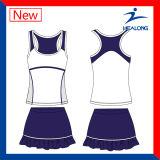 女性スカートが付いている安い昇華テニスの衣類のベストのセット