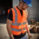 Chaleco reflexivo del funcionamiento de la seguridad de la seguridad anaranjada con las caras el elástico del acoplamiento