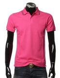 100つの綿の悪感情ファブリックYarn-Dyedカラー人基本的な様式の人のポロシャツ