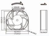 고열 12V 24V 172mm 172X152X51mm DC 냉각팬