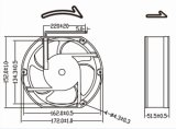 Высокотемпературный охлаждающий вентилятор DC 12V 24V 172mm 172X152X51mm