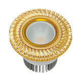 Proyector de cobre amarillo y Downlight de la MAZORCA del LED con final del oro 24k