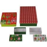 Изготовленный на заказ тары для хранения подарка рождества печатание с ручкой