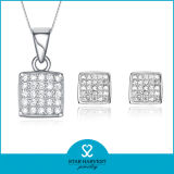 Alto Quaility Prong Setting 925 Sterling Silver Jewelry Set con Low MOQ (J-0131)
