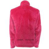 女性の長い袖ののどの毛皮の偽造品の毛皮のジャケット