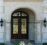 家のための低いEの完全な円形上の錬鉄の両開きドア