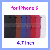 7 Farben Lichee Flip Fall für iPhone 6 PU Leather Wallet Cover (4.7/5.5 Inch)
