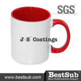 Сублимация покрытий Js Mugs внутренняя кружка цвета оправы 11oz - красное B11taa-01