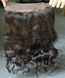 Frontal tre/liberi del merletto dei capelli 360 di beatitudine/capelli svizzeri del brasiliano del Virgin dell'onda del corpo parte superiore centrale della parte