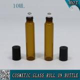 10ml rollo de vidrio ámbar en botella con tapón de plástico negro y rodillo de acero inoxidable