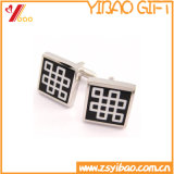 Bouton de manchette en métal plaqué argent pour cadeaux d'affaires (YB-r-017)