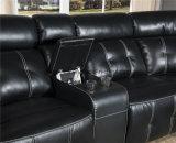 Sofà sezionale comodo del nero del Recliner con di transizione di Cupholder della sezione comandi progettato per il salone