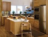 Projeto novo do gabinete de cozinha da madeira contínua com os consoles de cozinha Home de madeira