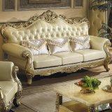 Mobilia del salone impostata con il sofà di cuoio di legno (533)